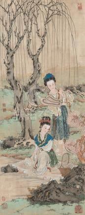 王凤年(b.1937) 仕女 立轴 设色绢本