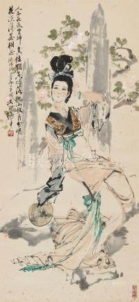 颜梅华(b.1927) 仕女 立轴 设色纸本