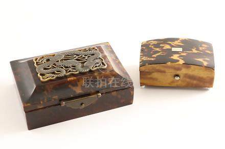 A SMALL LATE 19TH CENTURY TORTOISESHELL-COVERED BOX on ball feet with a low-domed cover, and a