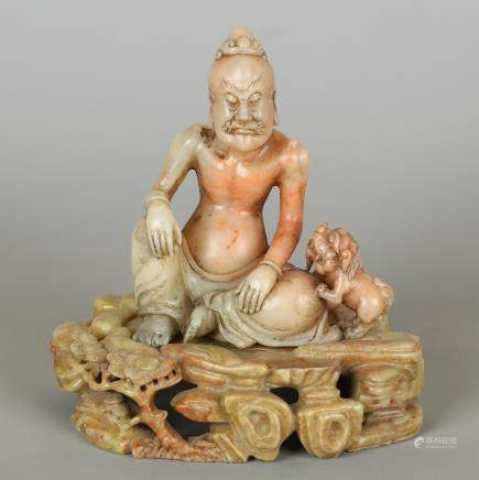 CHINESE SOAPSTONE CARVED FIGURE OF LOHAN