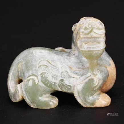 CHINESE CELADON JADE CARVED BEAST