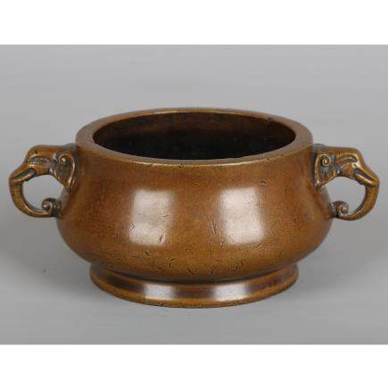 CHINESE BRONZE TWIN EAR CENSER