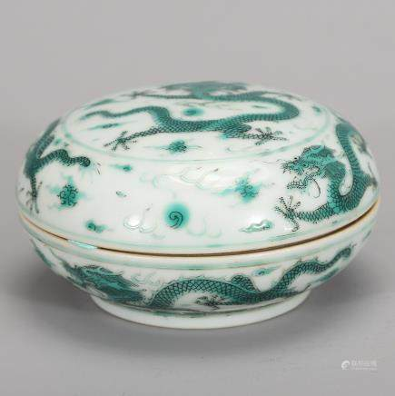 CHINESE GREEN GLAZED DRAGON COVER BOX