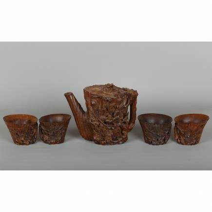 CHINESE HARDWOOD CARVED TEA SET