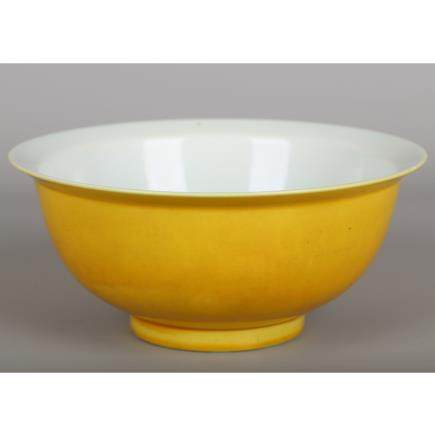 CHINESE YELLOW GLAZED PORCELAIN BOWL