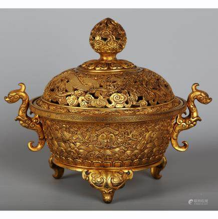 CHINESE GILT BRONZE COVER CENSER