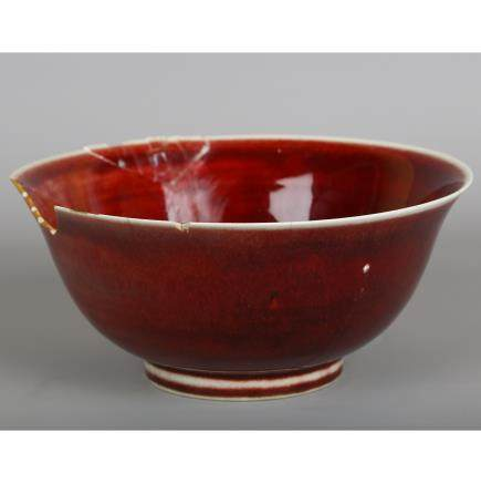 CHINESE RED GLAZED PORCELAIN BOWL