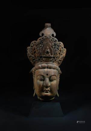 CHINESE WOOD CARVED BURST OF GUANYIN