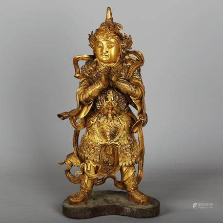 CHINESE GILT BRONZE FIGURE OF WEITUO