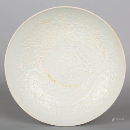 CHINESE WHITE PORCELAIN DRAGON CHARGER