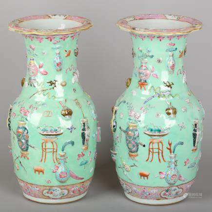 CHINESE FAMILLE ROSE PORCELAIN VASES, PAIR