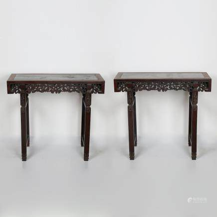 CHINESE PAIR OF ROSEWOOD ALTER TABLE