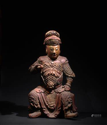 CHINESE WOOD FIGURE OF GUANDI