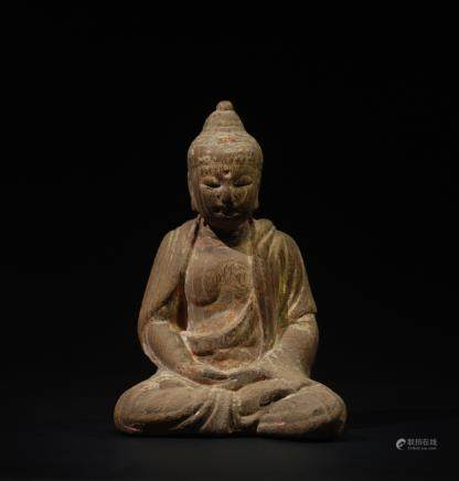 CHINESE WOOD FIGURE OF SHAKYAMUNI