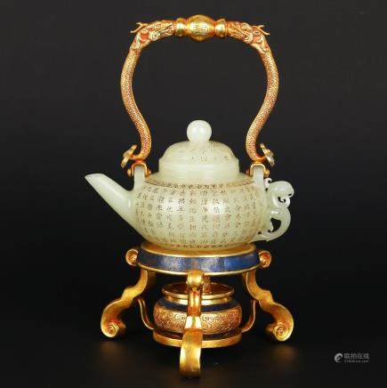 CHINESE JADE TEA POT WITH CLOISONNE