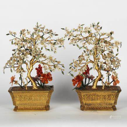 CHINESE PAIR OF JADE AND BRONZE PLANTERS