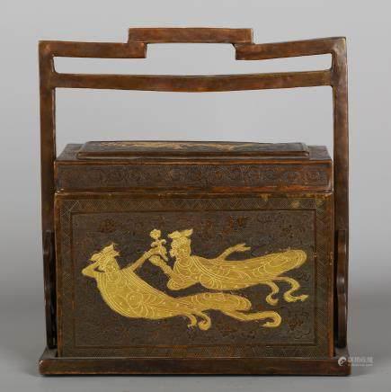 CHINESE BRONZE CARRYING BOX