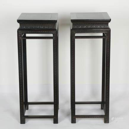CHINESE PAIR OF HARDWOOD STANDS