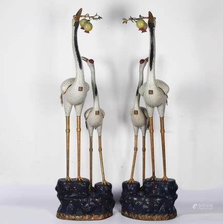 CHINESE PAIR OF CLOISONNE CRANES