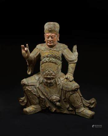 CHINESE WOOD CARVED FIGURE OF GUANDI