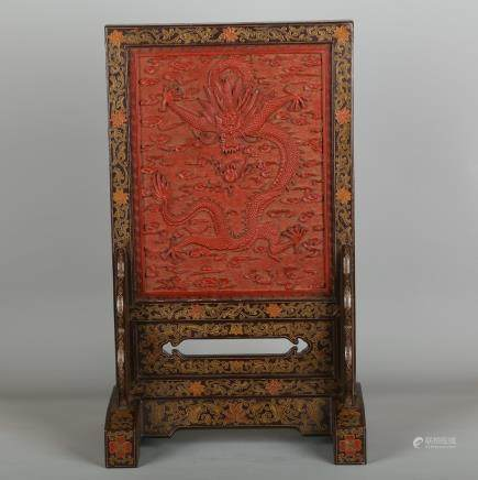 CHINESE CINNABAR LACQUER DRAGON TABLE SCREEN
