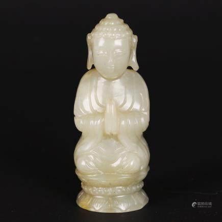 CHINESE JADE CARVED FIGURE OF BUDDHA