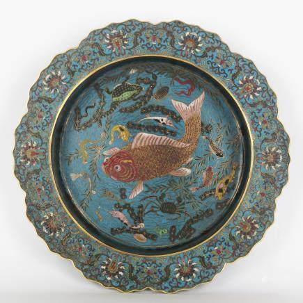CHINESE CLOISONNE FISH BASIN