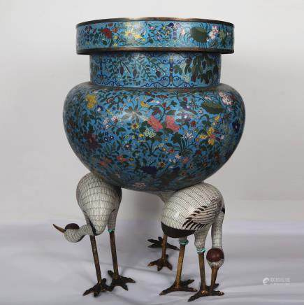 CHINESE CLOISONNE CENSER WITH CRANE