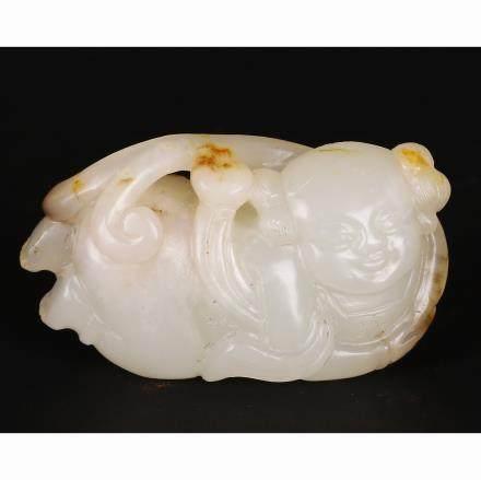CHINESE WHITE JADE BOY PENDANT