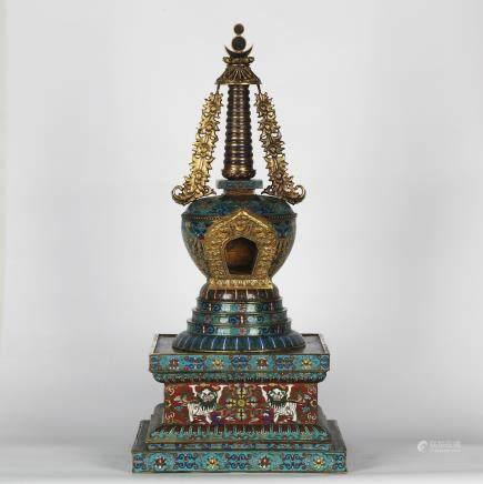 CHINESE CLOISONNE BUDDHIST STUPA