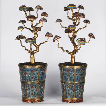 CHINESE PAIR OF CLOISONNE PLANTERS