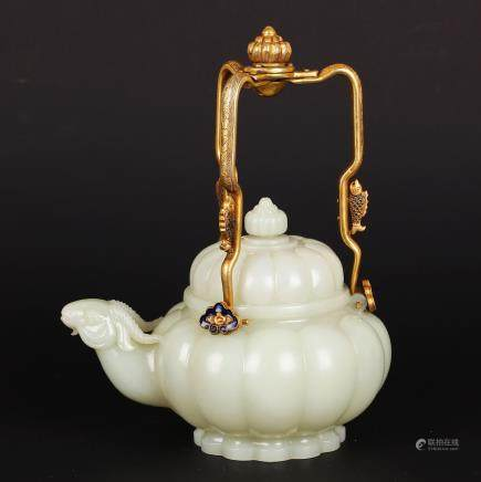 CHINESE CELADON JADE TEA POT