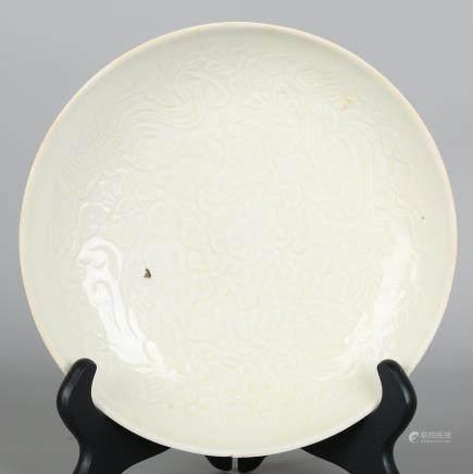 CHINESE WHITE GLAZED PORCELAIN CHARGER