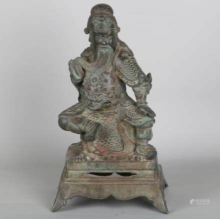 CHINESE BRONZE FIGURE OF GUANDI