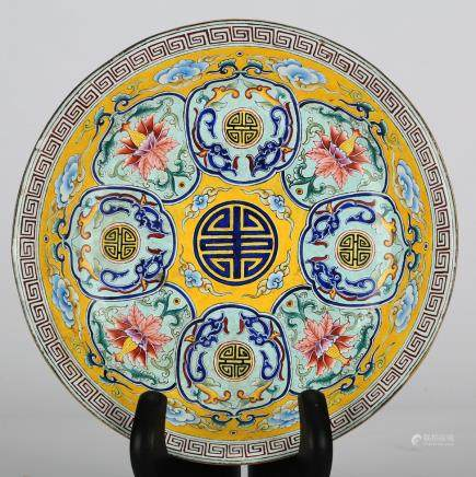 CHINESE BRONZE ENAMEL CHARGER