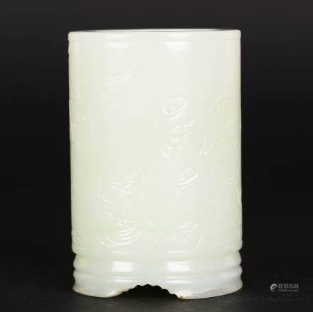 CHINESE WHITE JADE BRUSH POT