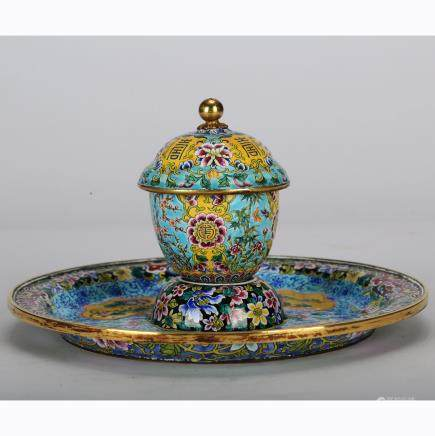 CHINESE BRONZE ENAMEL CUP AND SAUCER