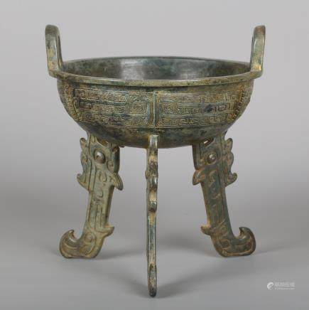 CHINESE BRONZE TRIPOD FOOD VESSEL