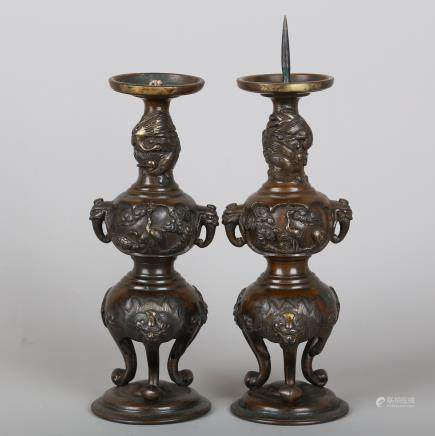 CHINESE PAIR OF BRONZE CRANE CANDLE STANDS