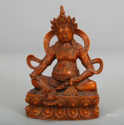 CHINESE BOXWOOD FIGURE OF JAMBHALA