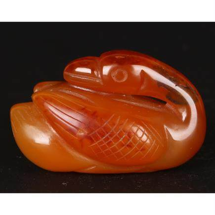 CHINESE AGATE CARVED GOOSE