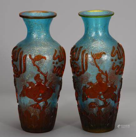 CHINESE PAIR OF PEKING GLASS VASE