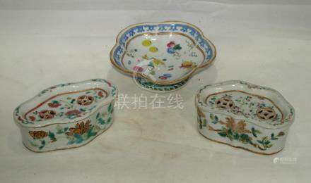 Antique Chinese porcelain cricket boxes and bowl MARK