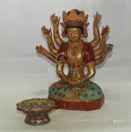 Vintage Chinese sancai porcelain Buddha and bowl