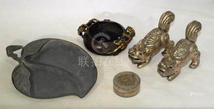 Vintage & antique Chinese bronze, silver, pewter items