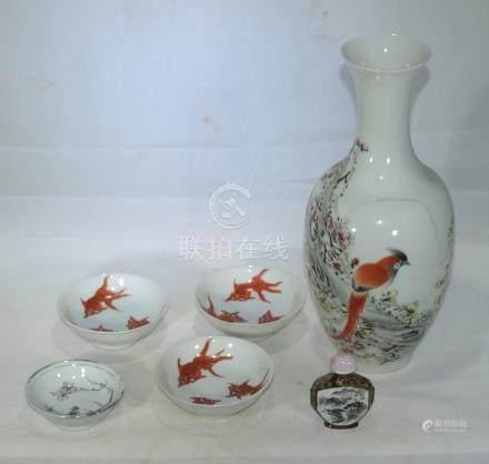 Antique Chinese mix porcelain vase, bowls, snuff bottle