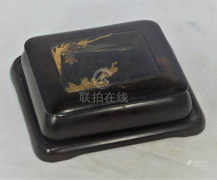 Antique Japanese gold & silver inlaid wood box & stand