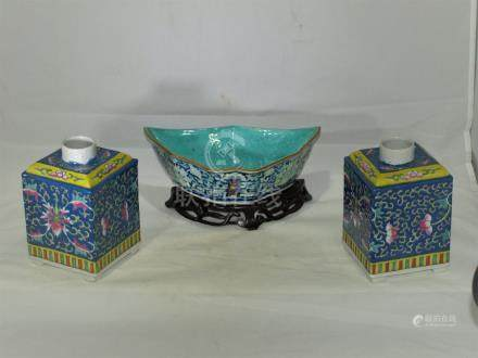 Antique / vintage Chinese porcelain tea jars & bowl
