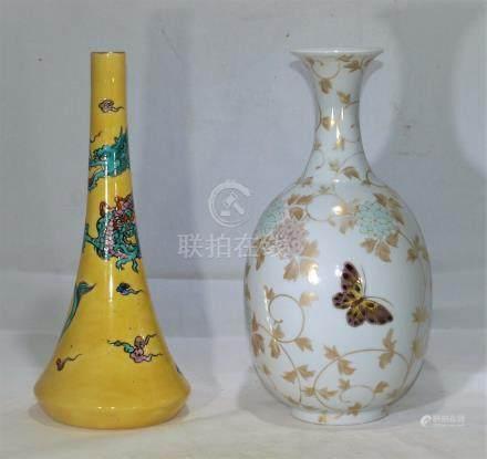 Antique Japanese Kutani and KoKutani porcelain vases