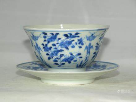 Antique Chinese blue / white porcelain bowl & plate